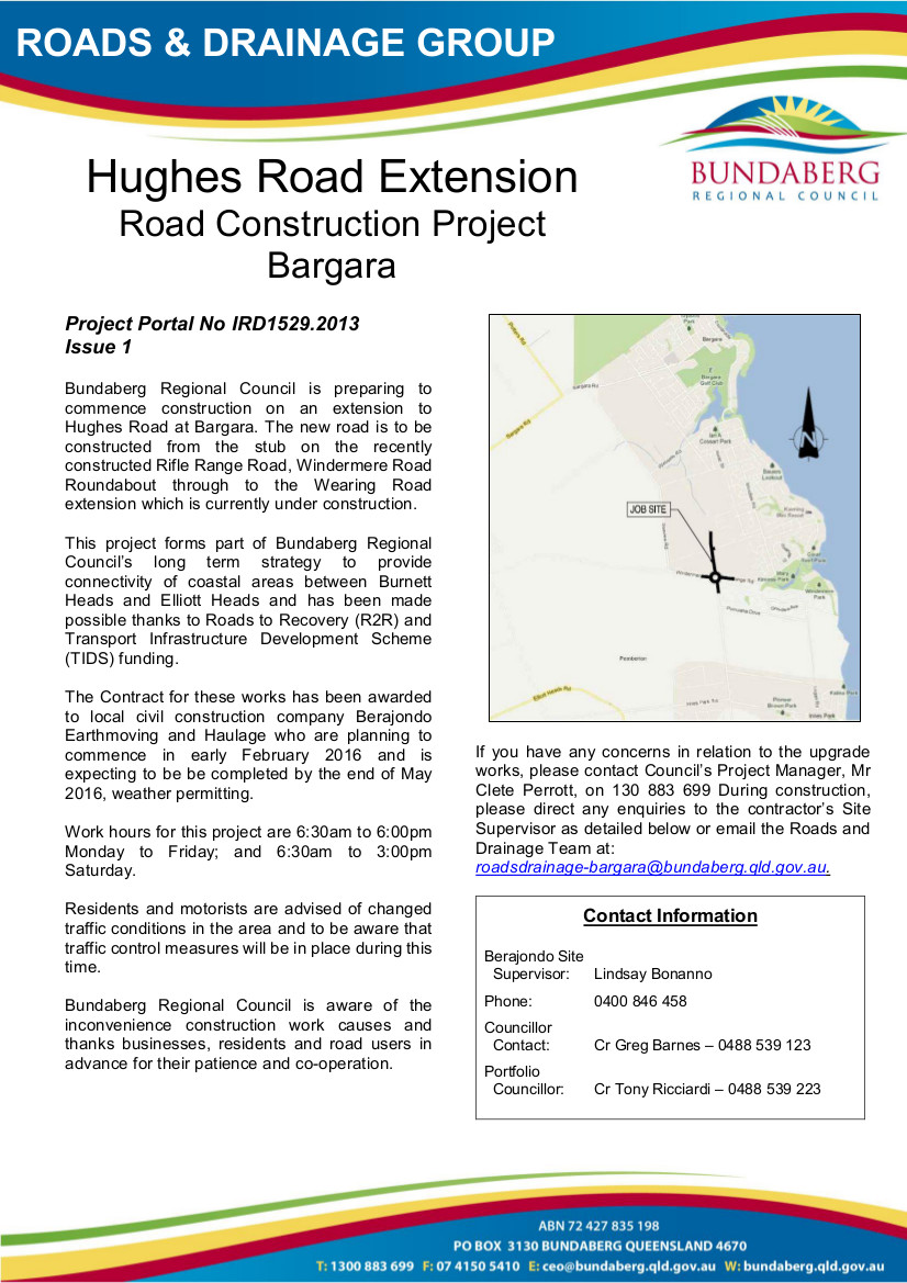Newsletter No. 1 - Hughes Road Extension