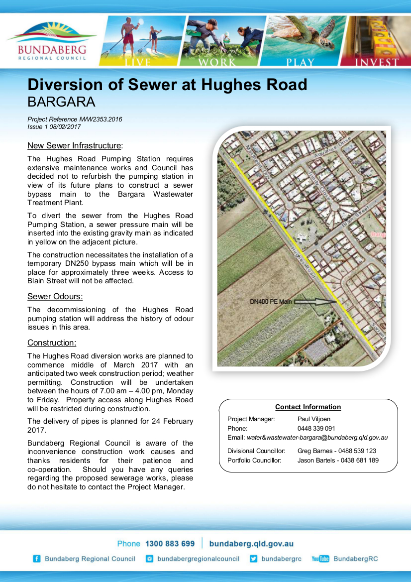 IWW2353 2016 - Newsletter Issue 1 February 2017 - Hughes Road Sewer Deviation - Temporary Bypass